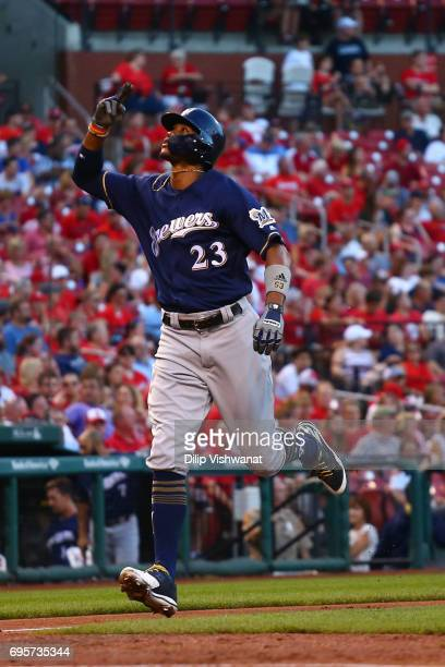 Keon Broxton of the Milwaukee Brewers celebrates after hitting a solo home run at Busch Stadium on June 13 2017 in St Louis Missouri