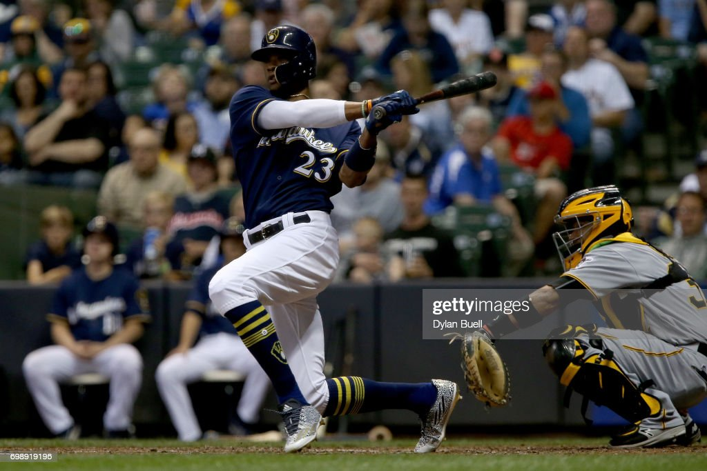 Keon Broxton #23 of the Milwaukee Brewers hits a double in the sixth inning against the Pittsburgh Pirates at Miller Park on June 20, 2017 in Milwaukee, Wisconsin.