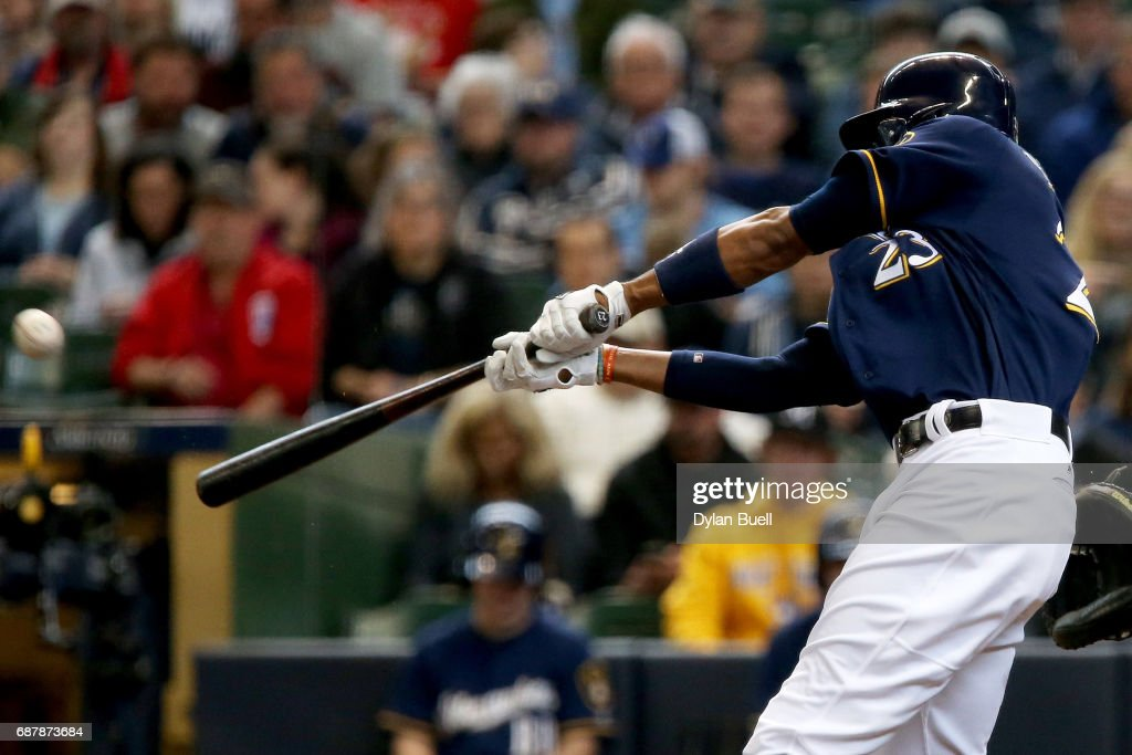Keon Broxton #23 of the Milwaukee Brewers hits a home run in the third inning against the Toronto Blue Jays at Miller Park on May 24, 2017 in Milwaukee, Wisconsin.