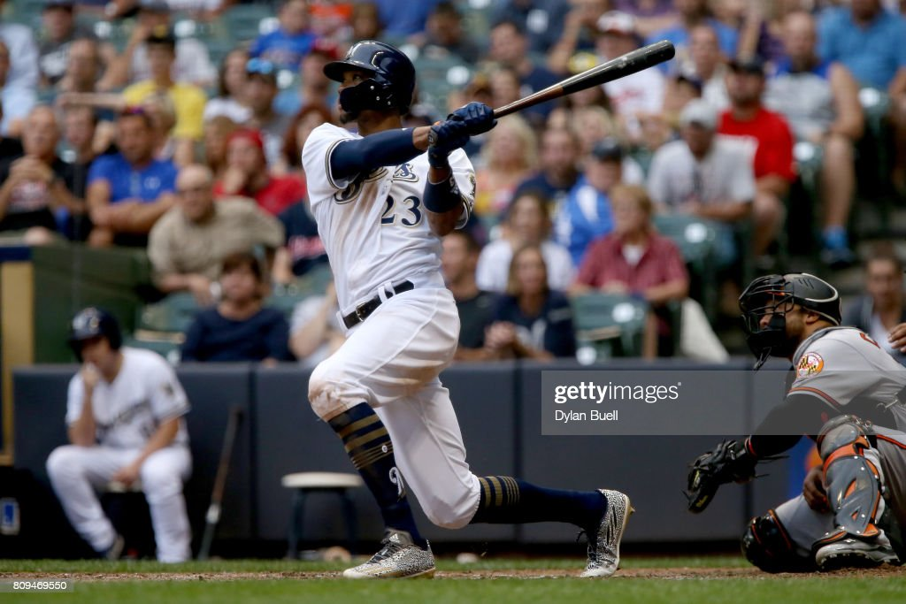 Keon Broxton #23 of the Milwaukee Brewers hits a home run in the third inning against the Baltimore Orioles at Miller Park on July 5, 2017 in Milwaukee, Wisconsin.