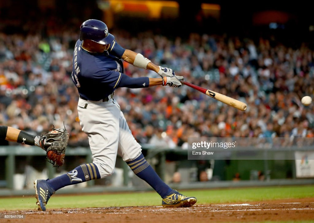 Keon Broxton #23 of the Milwaukee Brewers hits a single that scored Domingo Santana #16 in the second inning against the San Francisco Giants at AT&T Park on August 22, 2017 in San Francisco, California.