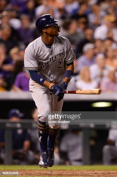 Keon Broxton of the Milwaukee Brewers hits a sixth inning solo homerun against the Colorado Rockies at Coors Field on August 18 2017 in Denver...