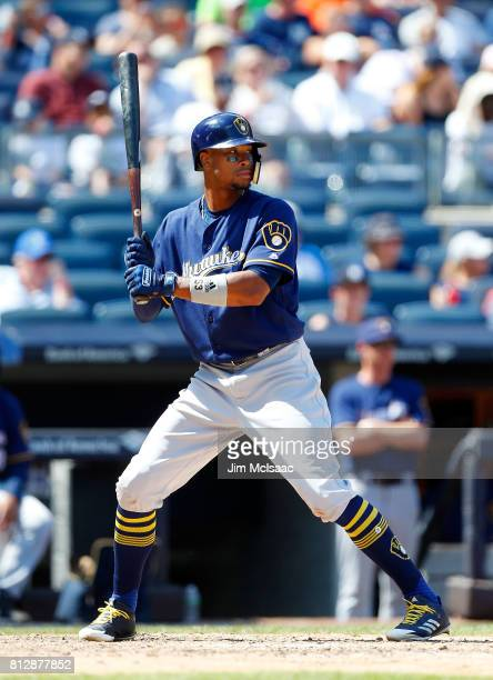 Keon Broxton of the Milwaukee Brewers in action against the New York Yankees at Yankee Stadium on July 9 2017 in the Bronx borough of New York City...