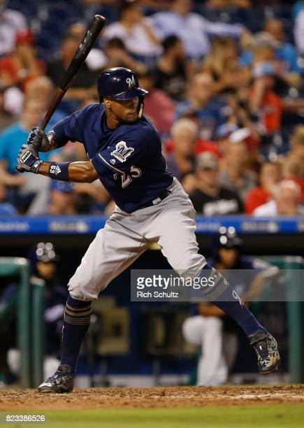 Keon Broxton of the Milwaukee Brewers in action against the Philadelphia Phillies during a game at Citizens Bank Park on July 21 2017 in Philadelphia...