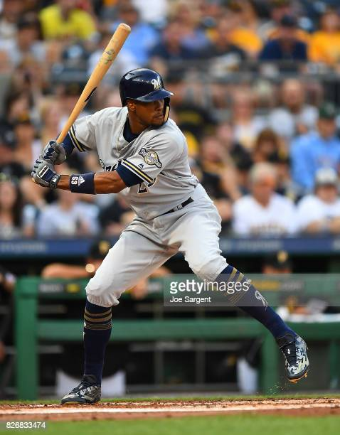 Keon Broxton of the Milwaukee Brewers in action during the game against the Pittsburgh Pirates at PNC Park on July 18 2017 in Pittsburgh Pennsylvania
