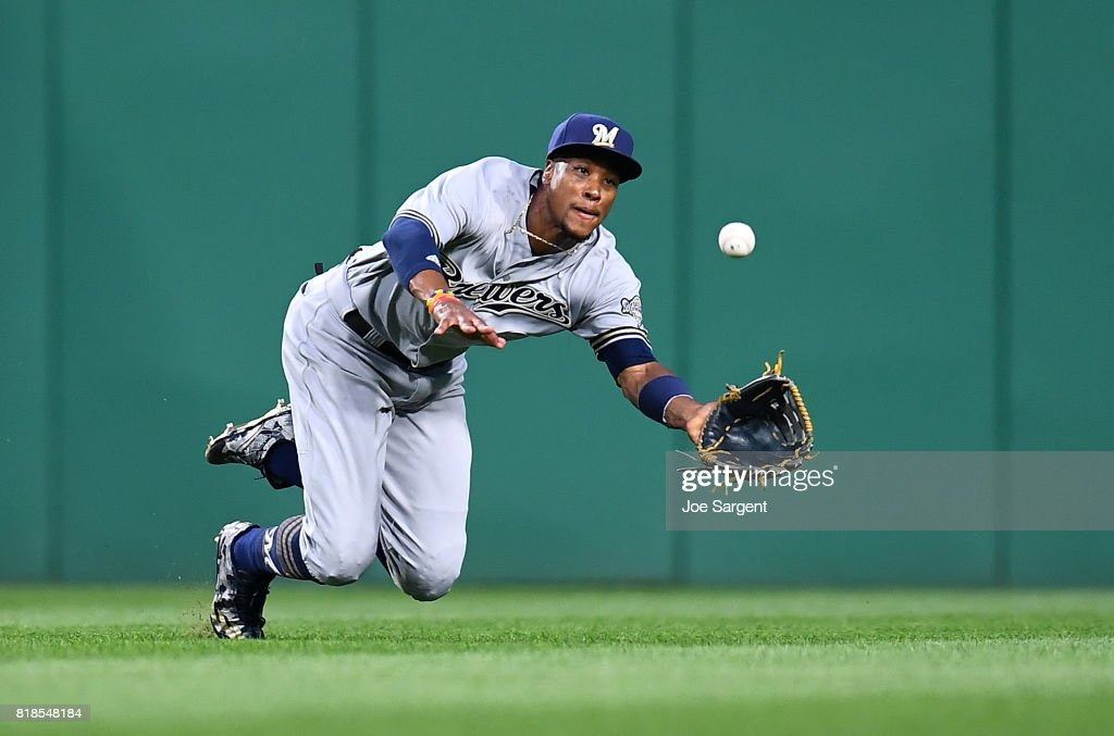 Keon Broxton #23 of the Milwaukee Brewers makes a diving catch on a ball hit by Adam Frazier #26 of the Pittsburgh Pirates (not pictured) during the sixth inning at PNC Park on July 18, 2017 in Pittsburgh, Pennsylvania.