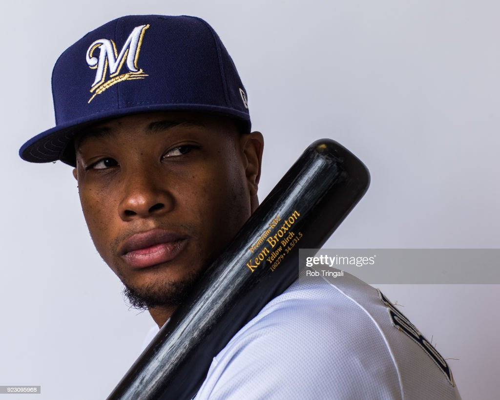 Keon Broxton of the Milwaukee Brewers poses for a portrait during Photo Day at the Milwaukee Brewers Spring Training Complex on February 22, 2018 in Maryvale, Arizona.