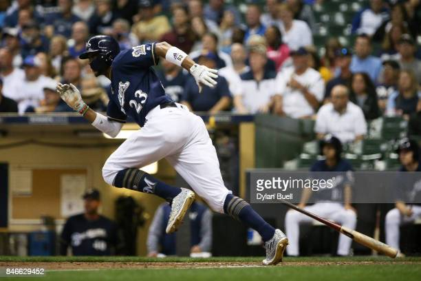 Keon Broxton of the Milwaukee Brewers reaches on an error in the fourth inning against the Pittsburgh Pirates at Miller Park on September 12 2017 in...