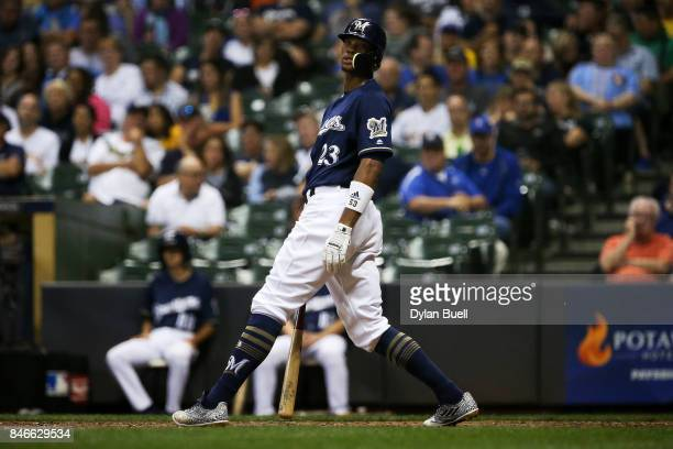 Keon Broxton of the Milwaukee Brewers reacts after striking out in the sixth inning against the Pittsburgh Pirates at Miller Park on September 12...