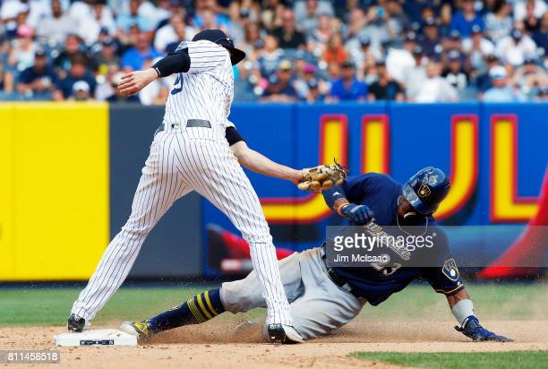 Keon Broxton of the Milwaukee Brewers steals second base in the eighth inning ahead of the tag from Tyler Wade of the New York Yankees at Yankee...
