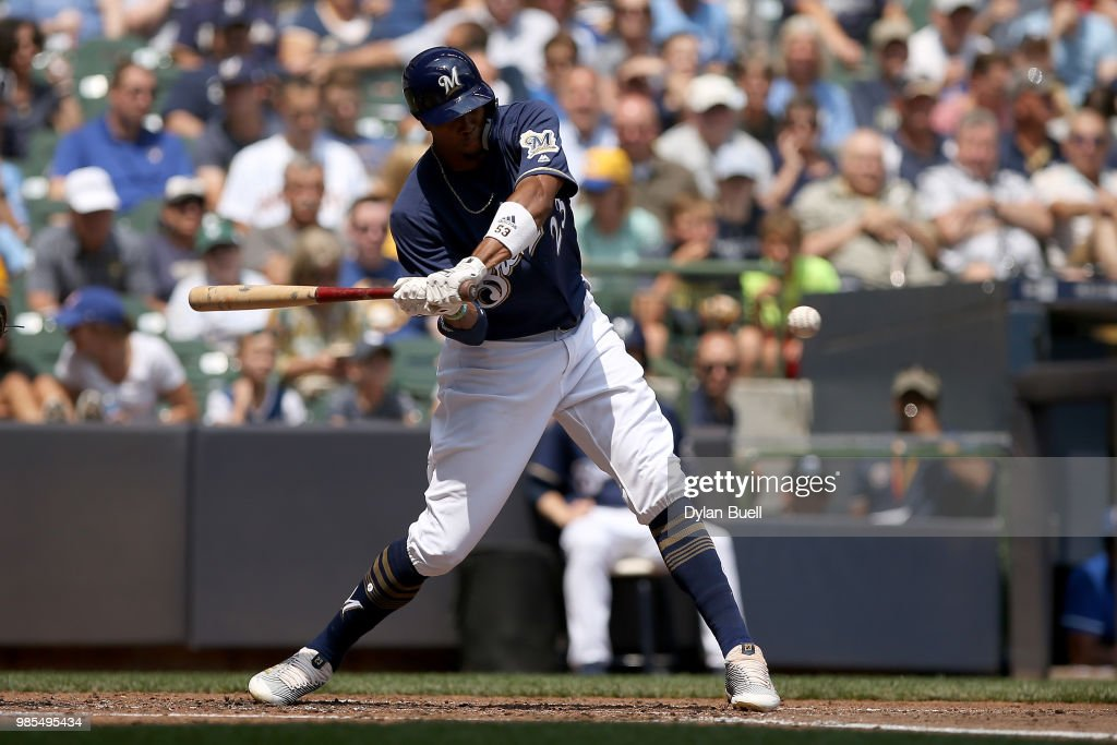 Keon Broxton #23 of the Milwaukee Brewers strikes out in the fourth inning against the Kansas City Royals at Miller Park on June 27, 2018 in Milwaukee, Wisconsin.