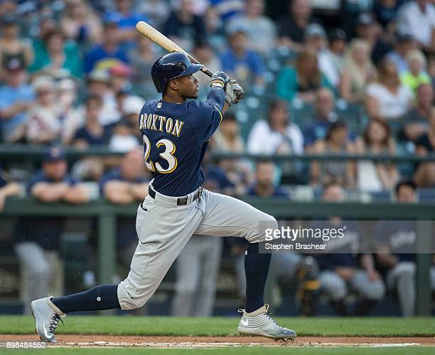 Keon Broxton of the Milwaukee Brewers takes a swing during an atbat in a game against the Seattle Mariners at Safeco Field on August 19 2016 in...