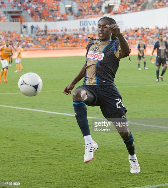 Keon Daniel of the Philadelphia Union chases down ball deep in the Houston Dynamo end at BBVA Compass Stadium on June 30 2012 in Houston Texas