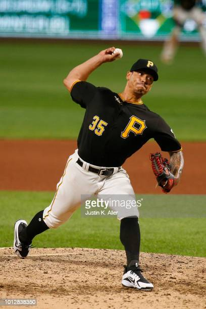 Keone Kela of the Pittsburgh Pirates in action against the St Louis Cardinals at PNC Park on August 3 2018 in Pittsburgh Pennsylvania