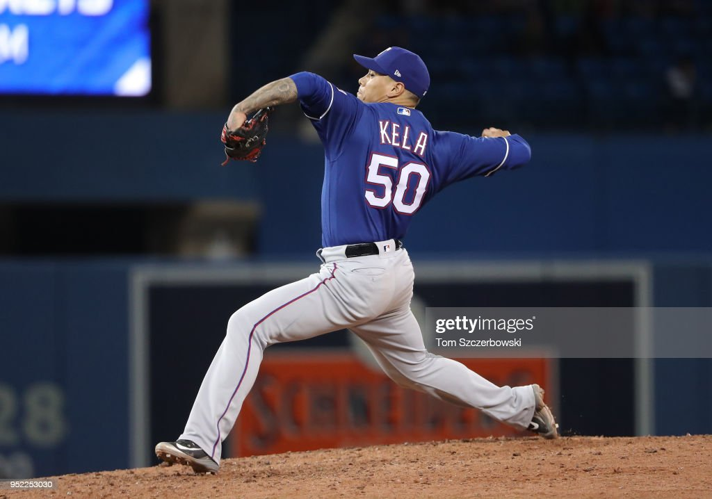 Keone Kela #50 of the Texas Rangers delivers a pitch in the ninth inning during MLB game action against the Toronto Blue Jays at Rogers Centre on April 27, 2018 in Toronto, Canada.