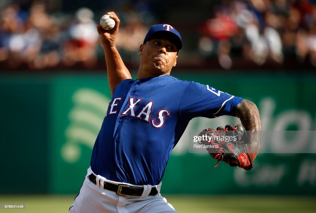 Keone Kela #50 of the Texas Rangers delivers against the Colorado Rockies during the ninth inning at Globe Life Park in Arlington on June 16, 2018 in Arlington, Texas. The Rangers won 5-2.