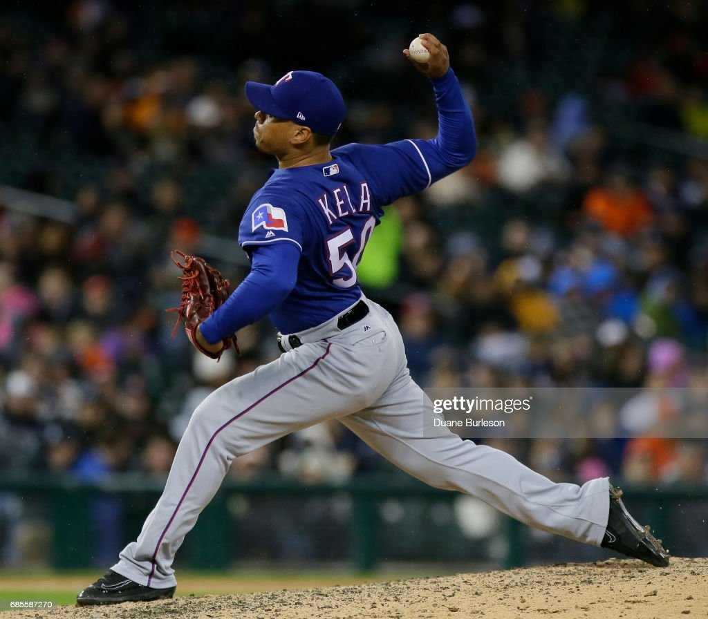Keone Kela #50 of the Texas Rangers pitches against the Detroit Tigers during the seventh inning at Comerica Park on May 19, 2017 in Detroit, Michigan. The Rangers defeated the Tigers 5-3.