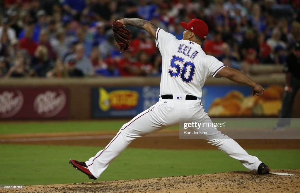 Keone Kela #50 of the Texas Rangers pitches against the Oakland Athletics during the seventh inning at Globe Life Park in Arlington on September 29, 2017 in Arlington, Texas.