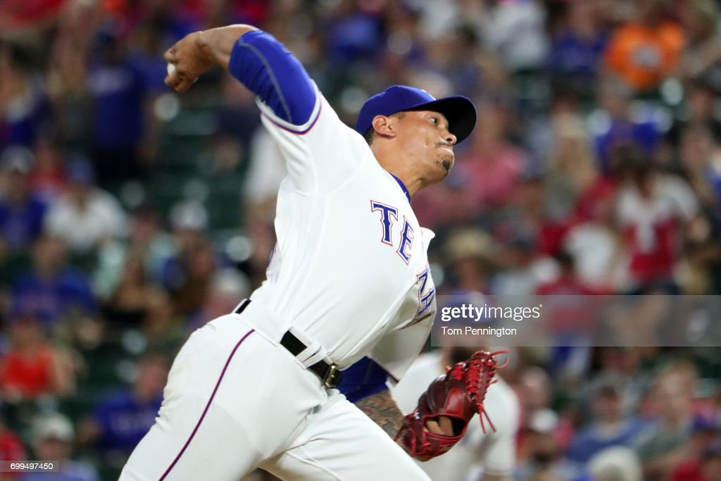 Keone Kela #50 of the Texas Rangers pitches against the Toronto Blue Jays in the to of the ninth inning at Globe Life Park in Arlington on June 21, 2017 in Arlington, Texas.