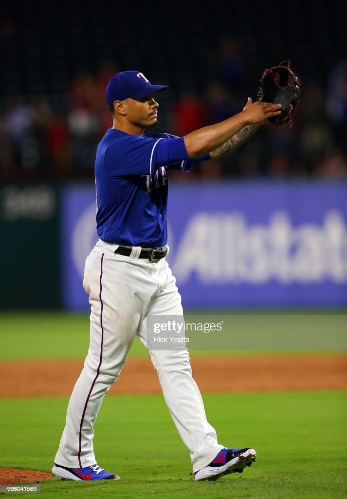 Keone Kela #50 of the Texas Rangers reacts in the ninth inning after closing out the game against the Oakland Athletics at Globe Life Park in Arlington on June 5, 2018 in Arlington, Texas.