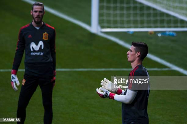 Kepa and David De Gea during the training of the Spanish soccer team before the friendly match between Spain and Argentina on March 27 2018 Wanda...