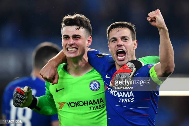 Kepa Arrizabalaga and Cesar Azpilicueta of Chelsea celebrate victory in the penalty shoot out after the UEFA Europa League Semi Final Second Leg...