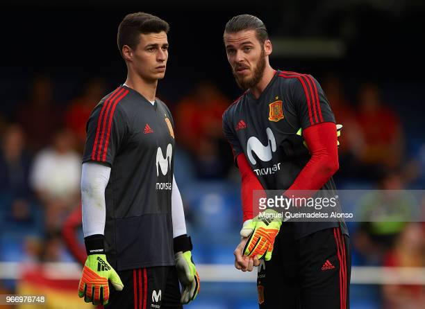 Kepa Arrizabalaga and David de Gea of Spain warm up during the International Friendly match between Spain and Switzerland at Estadio de La Ceramica...