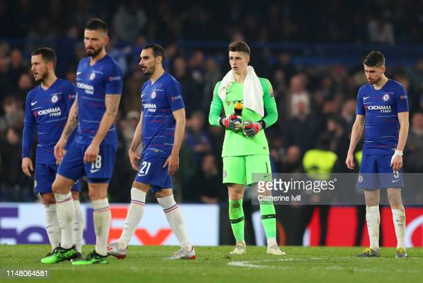 Kepa Arrizabalaga and Jorginho of Chelsea look on during the UEFA Europa League Semi Final Second Leg match between Chelsea and Eintracht Frankfurt...
