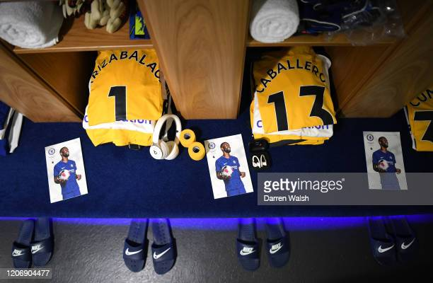 Kepa Arrizabalaga and Willy Caballero of Chelsea shirts are seen in the changing room prior to the Premier League match between Chelsea FC and...