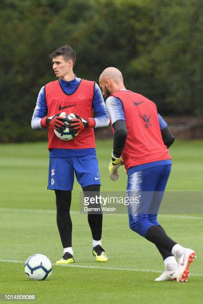 Kepa Arrizabalaga and Willy Gaballero of Chelsea during a training session at Chelsea Training Ground on August 10 2018 in Cobham England