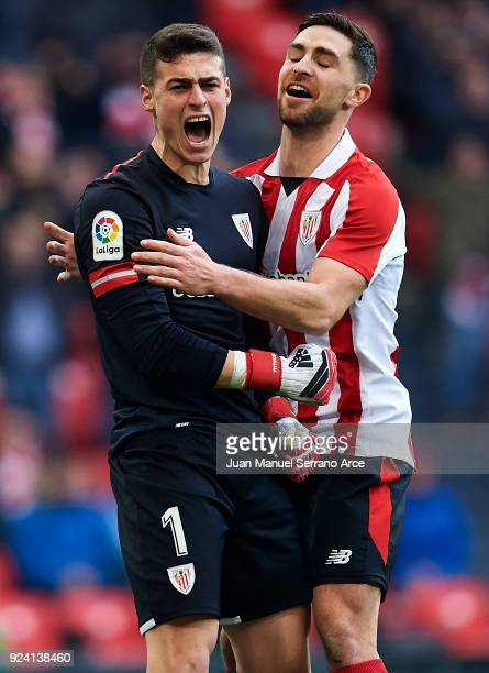 Kepa Arrizabalaga and Yerran Alvarez of Athletic Club reacts during the La Liga match between Athletic Club Bilbao and Malaga CF at San Mames Stadium...