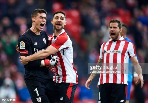 Kepa Arrizabalaga and Yerran Alvarez of Athletic Club reacts during the La Liga match between Athletic Club Bilbao and Malaga CF at San Mames Stadium...