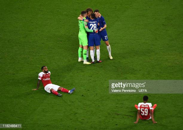 Kepa Arrizabalaga Cesar Azpilicueta David Luiz of Chelsea and Andreas Christiansen of Chelsea celebrates victory as Alexandre Lacazette and Joe...