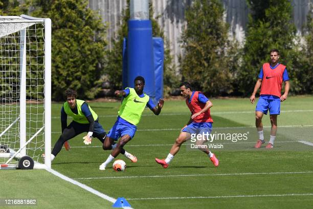 Kepa Arrizabalaga Fikayo Tomori and Pedro of Chelsea during a training session at Chelsea Training Ground on June 2 2020 in Cobham England