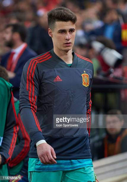 Kepa Arrizabalaga goalkeeper of Spain looks during the 2020 UEFA European Championships group F qualifying match between Spain and Norway at Mestalla...