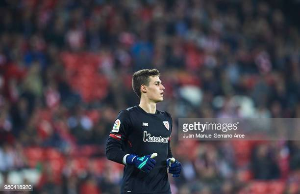 Kepa Arrizabalaga looks on during the La Liga match between Athletic Club and Levante at Estadio San Mames on April 23 2018 in Bilbao