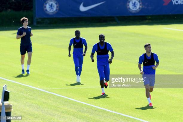 Kepa Arrizabalaga NGolo Kante Kurt Zouma and Christian Pulisic of Chelsea during a self isolating small group training session at Chelsea Training...