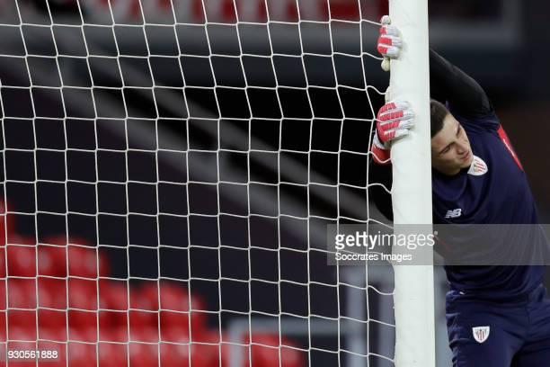 Kepa Arrizabalaga of Athletic Bilbao during the La Liga Santander match between Athletic de Bilbao v Leganes at the Estadio San Mames on March 11...