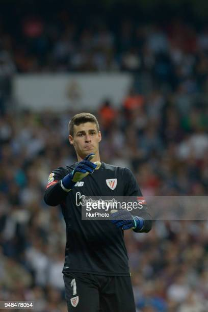Kepa Arrizabalaga of Athletic Bilbao gestures during a match between Real Madrid vs Athletic Bilbao for La Liga Española at Santiago Bernabeu Stadium...