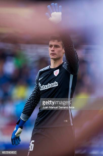 Kepa Arrizabalaga of Athletic Club Bilbao reacts during the La Liga match between Real Sociedad de Futbol and Athletic Club Bilbao at Estadio Anoeta...