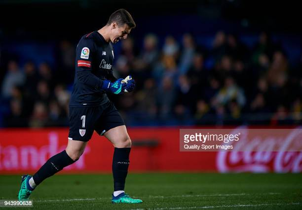 Kepa Arrizabalaga of Athletic Club celebrates a goal during the La Liga match between Villarreal and Athletic Club at Estadio de la Ceramica on April...