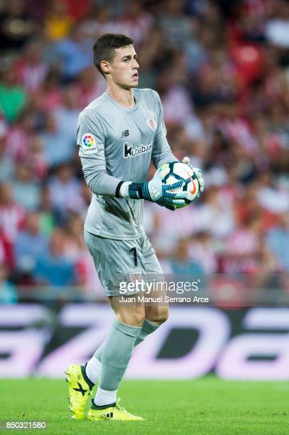 Kepa Arrizabalaga of Athletic Club controls the ball during the La Liga match between Athletic Club Bilbao and Atletico Madrid at San Mames Stadium...