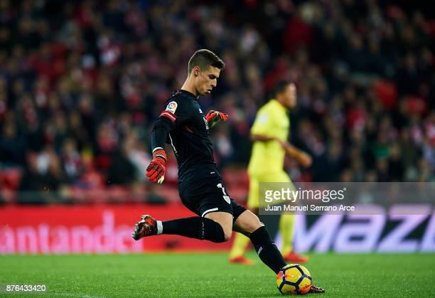 Kepa Arrizabalaga of Athletic Club controls the ball during the La Liga match between Athletic Club Bilbao and Villarreal CF at San Mames Stadium on...