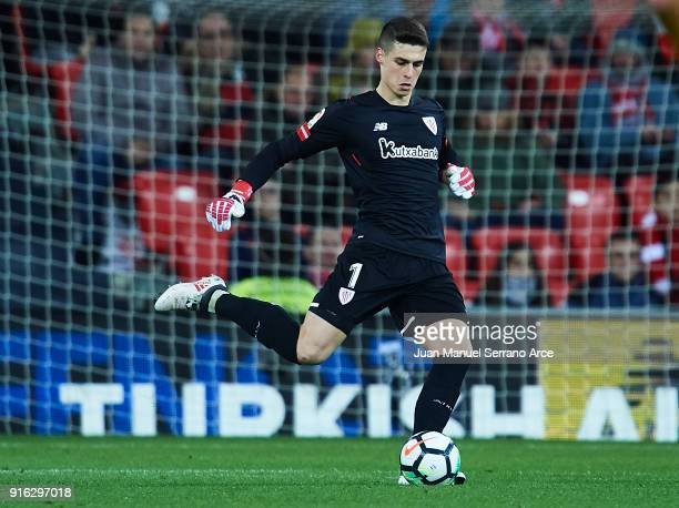 Kepa Arrizabalaga of Athletic Club in action during the La Liga match between Athletic Club and oUnion Deportiva Las Palmas at Estadio San Mames on...
