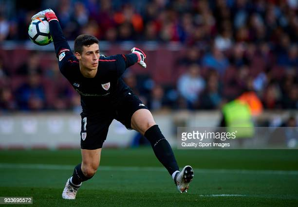 Kepa Arrizabalaga of Athletic Club in action during the La Liga match between Barcelona and Athletic Club at Camp Nou on March 18 2018 in Barcelona...