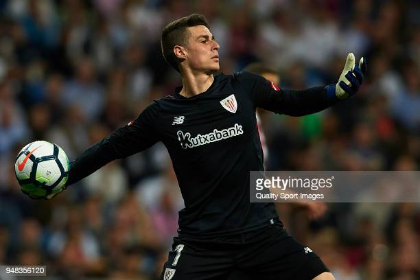 Kepa Arrizabalaga of Athletic Club in action during the La Liga match between Real Madrid and Athletic Club at Estadio Santiago Bernabeu on April 18...