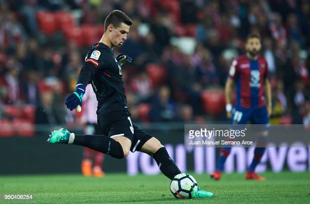 Kepa Arrizabalaga of Athletic Club in action during the La Liga match between Athletic Club and Levante at Estadio San Mames on April 23 2018 in...