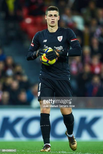Kepa Arrizabalaga of Athletic Club looks on during the La Liga match between Athletic Club and Real Madrid at Estadio de San Mames on December 2 2017...