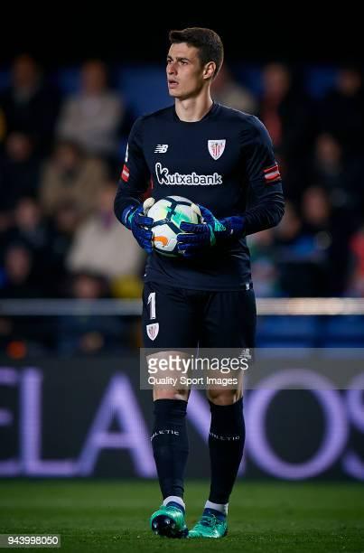 Kepa Arrizabalaga of Athletic Club looks on during the La Liga match between Villarreal and Athletic Club at Estadio de la Ceramica on April 9 2018...