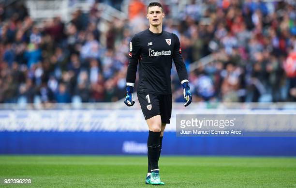 Kepa Arrizabalaga of Athletic Club looks on during the La Liga match between Real Sociedad and Athletic Club at Estadio de Anoeta on April 28 2018 in...